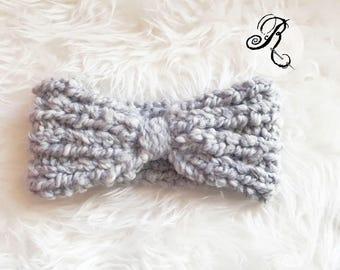 Chunky Knit Headband - Light Grey Woolen Headband -  Turban - Hand-Knit Hairband