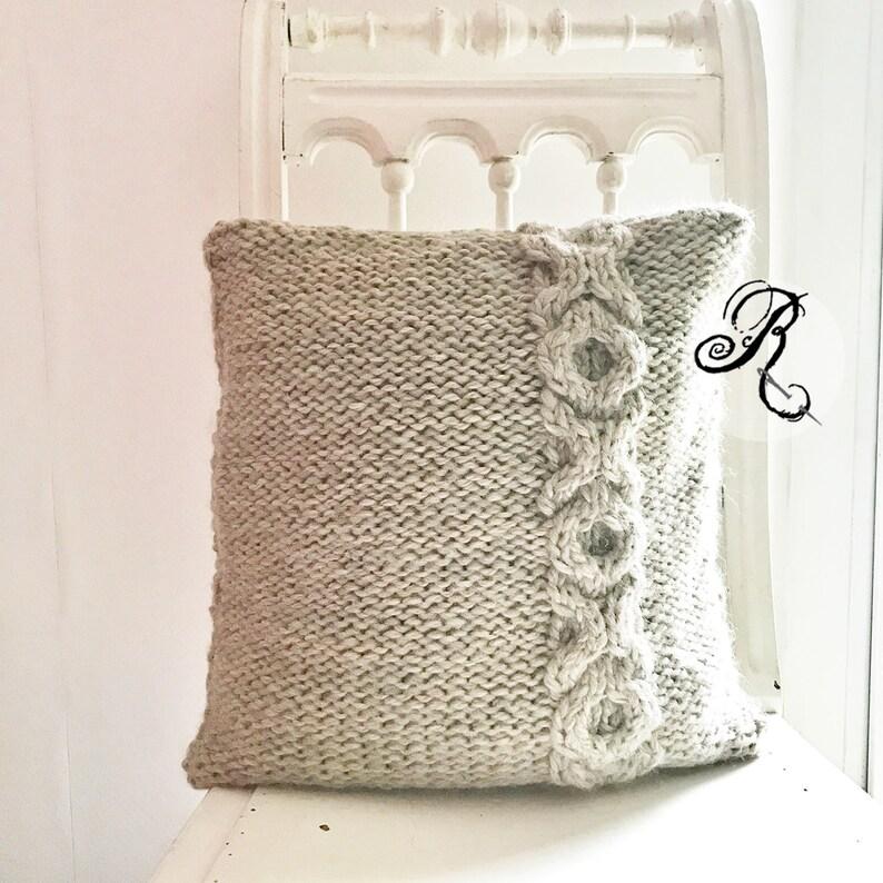 Chunky Knit Cushion XOXO Hugs and Kisses Wool Aplaka Pillow image 0