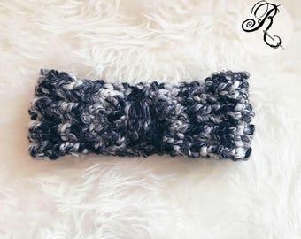 Chunky Knit Headband - Black & White Woolen Headband -  Turban - Hand-Knit Hairband