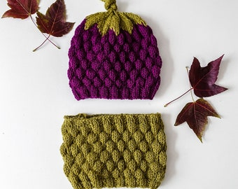 Blackberry cap with tube scarf - hand knitted - unisex - size: 1 month - adult - gift idea - from GOTS certified virgin wool