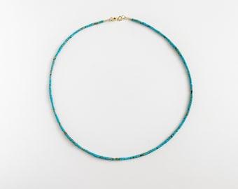 Turquoise anklet made of fine natural 2mm turquoise beads, boho turquoise anklet, turquoise jewelry, beach ankle bracelet, festival anklet