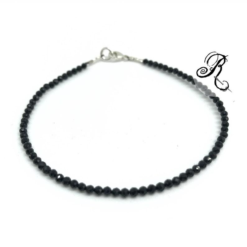 Delicate black Spinel Bracelet Natural faceted Spinel  925 image 0