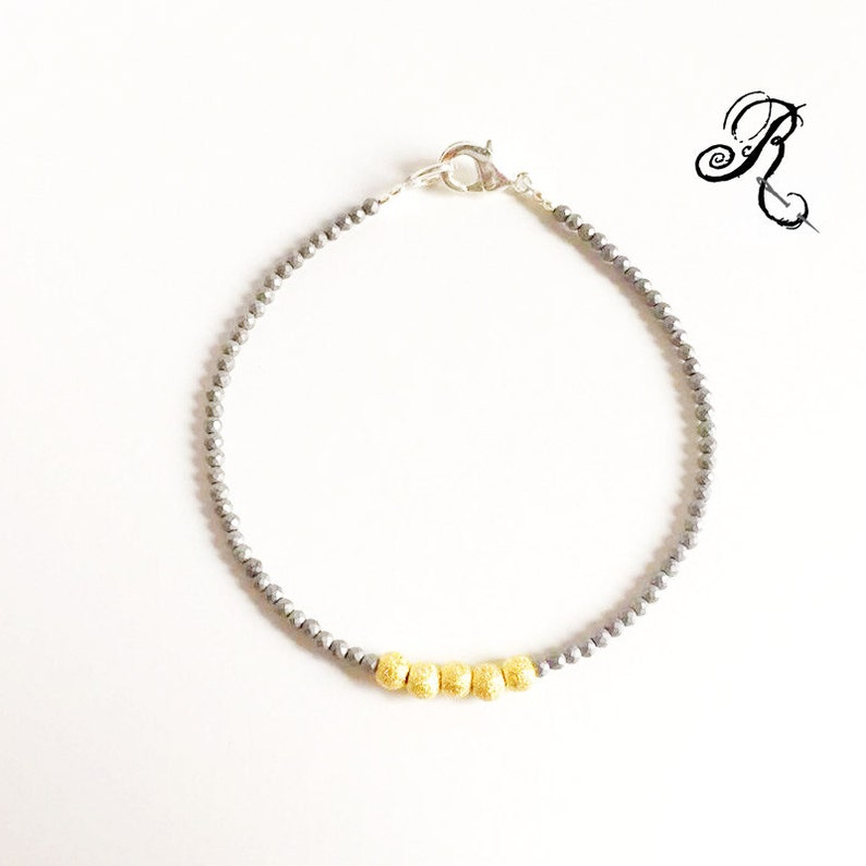 Tender  Puristic Bracelet  gold plated silver / hematite  image 0