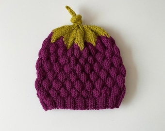 Blackberry cap - hand knitted - unisex - size: 1 month - adult - gift idea - bomber cap from GOTS certified virgin wool