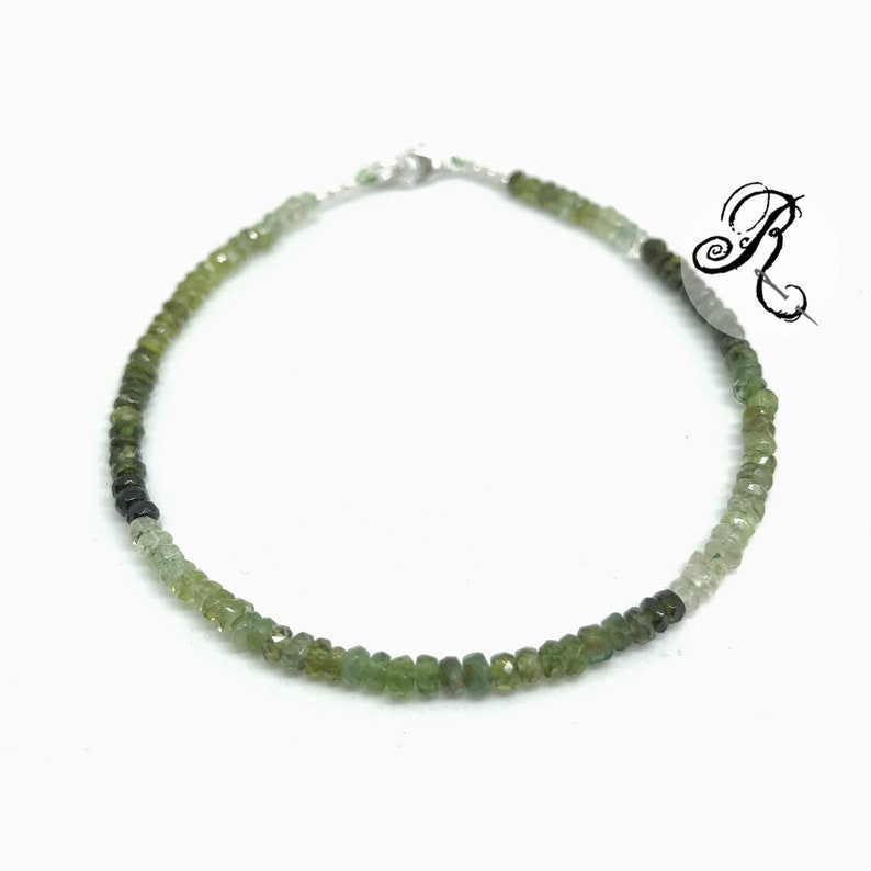 Delicate Green Tourmaline Bracelet Rondelle Beads 3.5 mm image 0