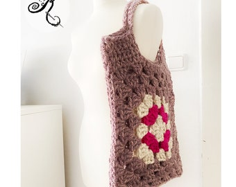 Chunky Wool Granny Squares crochet bag - bag - market bag - handmade - unlined - lilac -white - pink - gift idea