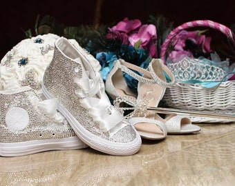 d663fb3016cc Swarovski (Crystal) Diamonds Blinged Out Converse Chuck Taylor Bridal  Wedding Sneakers Crystal Wedding Sneakers