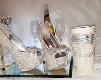 Wedding Heels Bridal Shoes Diamond And Pearl Wedding Heels Crystal Heels Wedding Shoes Bridal Heelsprom Pageant
