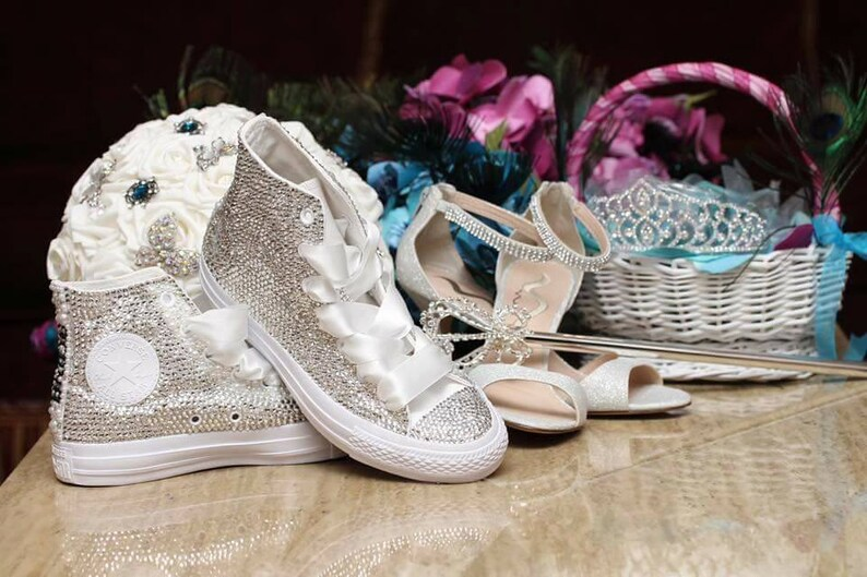 6715f416f528 Swarovski Crystal Diamonds Blinged Out Converse Chuck