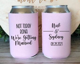 Covid Can Coolers In Sickness and in Health Wedding Favors Covid Wedding Can Coolers Funny Pandemic Wedding Favors 19 Covid Beer Cooler
