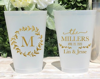 Monogrammed Cups Custom Monogrammed Cups Wedding Cups 1842 Frosted Cups Personalized Cups Plastic Drink Cups Weddings Plastic Cups