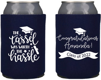 Cheers to the Grad Graduation Party Favor Coozie SEC-20 Class of 2021 Graduation Custom Can Coolers Class Reunion Can Huggies