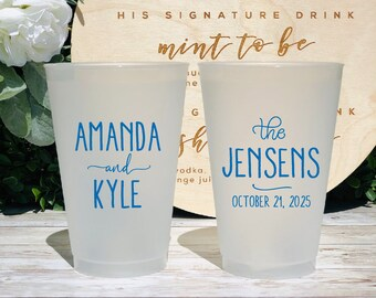Cocktail Hour Party Favors Elegant Monogram Cocktail Party Cups Gold Monogram Shatterproof Wedding Cups Custom Wine Cups Wedding Logo