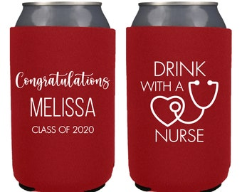 Graduation Collapsible Can Cooler 2 My Happy Class Is Outta Here Personalized Can Coolers Customized Drink Coolie Party Favor and Gift