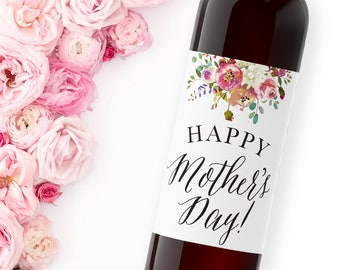 mother's day gift wine label / custom wine label / grandmother gift / thank you gift for mom WLH-04