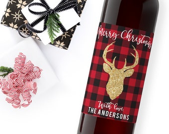 christmas wine label / custom wine label / merry christmas / holiday party favor / christmas gift ideas / WLH-11