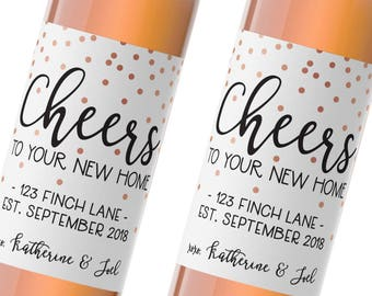 housewarming wine labels / custom wine label / gift for the new homeowner / congratulations new house / cheers to your new home / WLH-09