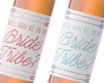 wine label wedding / bride tribe label / bridesmaid gift / maid of honor gift / bridesmaid proposal WLB-07