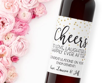 congrats on your engagement wine labels / custom wine label / congratulations to newly engaged couple gift / engagement party gift WLW-03