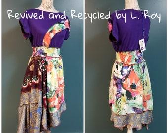2018-026 - eco friendly boho bohemian purple flower power dress - size M