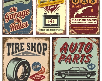 "Automotive Vintage Look Reproduction Metal Sign 8""W x 12""H"