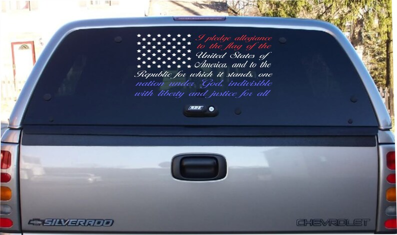 3641e2149e1 Pledge of Allegiance American Flag car decal Red White