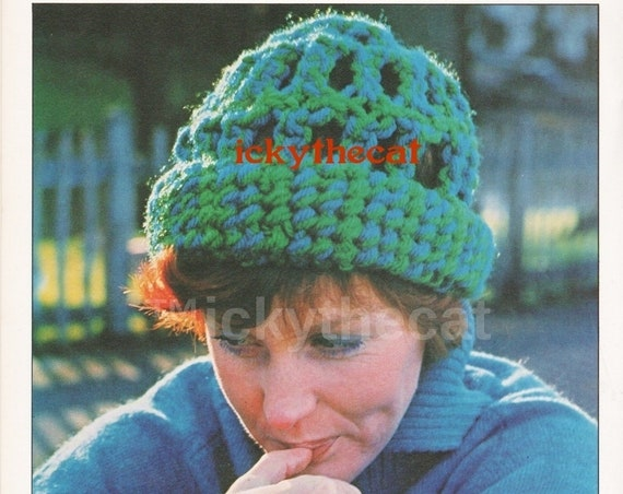 Instant PDF Digital Download Vintage Macrame Pattern to make A Woman's Ladies Macrame Hat One Average Size in Double Double Yarn