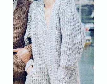 c64939a5dde00 PDF Immediate Digital Download Row by Row Knitting Pattern Ladies Oversized  Chunky Long Sleeve V Neck Sweater with Pockets Bust 34-42