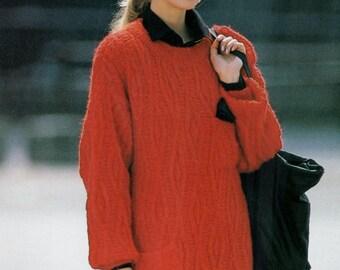 Instant PDF Digital Download Vintage Row by Row Knitting Pattern Ladies  Aran Loose Fitting Calf Length Long Sleeve Sweater Dress 34-42