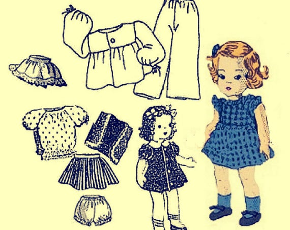 """PRINTED UK Freepost Vintage Sewing Pattern to make A Sweet Wardrobe of Clothes for 8"""" Dolls like a Ginny Doll"""