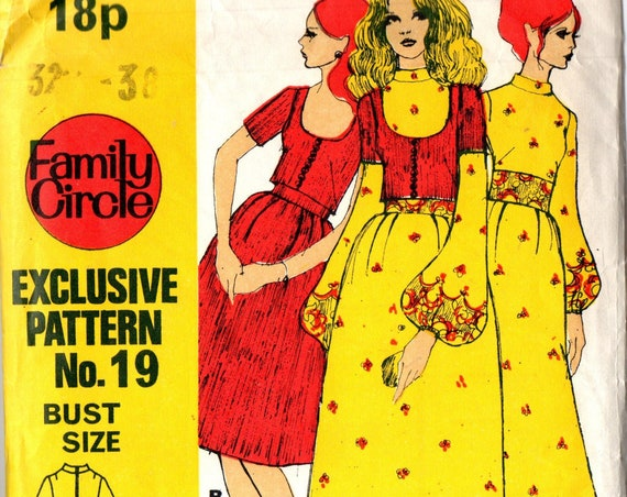 UNCUT Factory Folded Sewing Pattern Family Circle No.19 Mod Dress Bolero & Slip Short and Maxi Long 10,12,14,16 Bust 32-38''