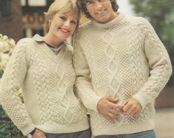 a83112b9086f7 Instant Digital Download PDF Vintage Row by Row Knitting Pattern to make A  Man s Woman s Aran Cable Sweater Jumper Pullover Chest 34-44