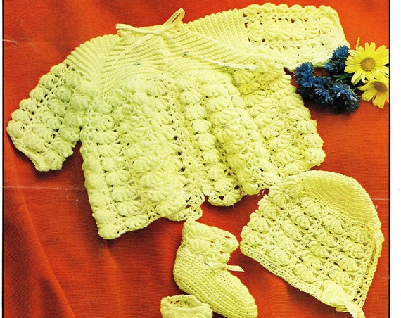Rare Original Vintage Crochet Pattern Marriner 1578 Baby Set Jacket or Coat Bonnet Bootees Chest 20'' in 3 ply yarn