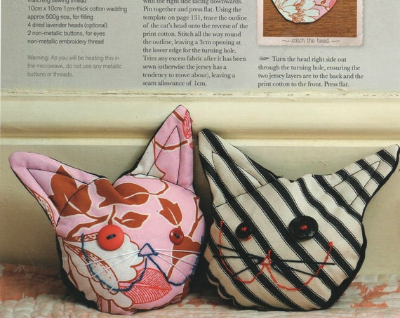 Instant PDF Digital Download Vintage Sewing Pattern to Enlarge to make a Cat Hand Warmer for Microwave