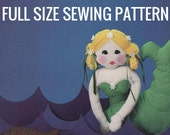 Instant PDF Digital Download Vintage Full Size Sewing Pattern 16 quot Mermaid Soft Body Cloth Doll with Sea Shell Pillows or Cushions 11-13 quot
