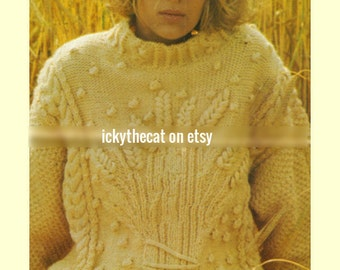 45e6f790f416d8 Instant Digital Download Chart Knitting Pattern Ladies Women s Superb Aran  Wheatsheaf Long Sleeve Sweater Pullover Jumper Bust 34 to 38