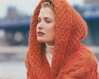 312d64f89d155 Instant Download PDF Vintage Row by Row Knitting Pattern to make Ladies  Oversized Super Chunky Long Sleeve Cardigan Jacket with Hood