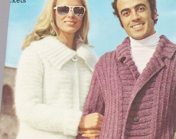 ... Instant PDF Digital Download Vintage Crochet   Knitting Pattern A Ladies  Mohair Cardigan Jacket with Collar c4f8f580f