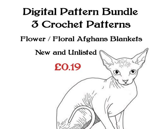 ickythecat™ Bargain Pattern Bundle PDF Digital 3 Flower / Floral Afghan Blanket Crochet Patterns New and Unlisted Assorted Yarns and Sizes