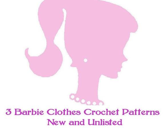 ickythecat™ Bargain Pattern Bundle  PDF Digital  3 Assorted Crochet Patterns   for Barbie or Teenage Dolls of Similar Size.