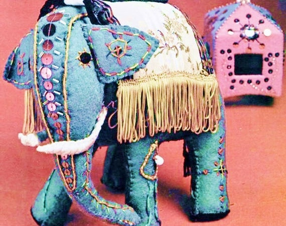 UK Free Post PRINTED Vintage Chart or Graph Sewing Pattern to make A Superb Felt Embroidered Elephant & Mahout Stuffed Plush Soft Body Toy