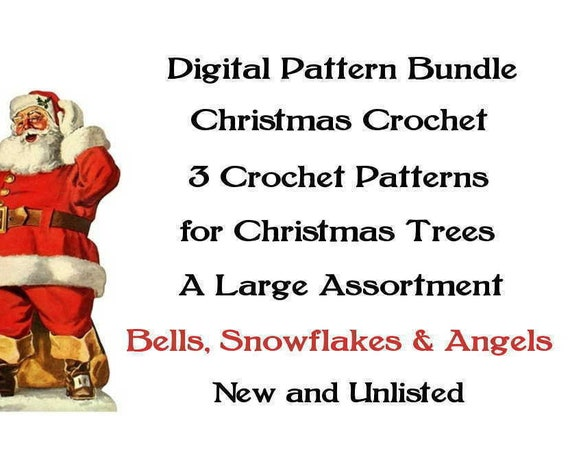 ickythecat™ Bargain Pattern Bundle PDF Digital 3 Christmas Crochet Patterns for Christmas Trees Assorted UNLISTED Bells, Angels Snowflakes