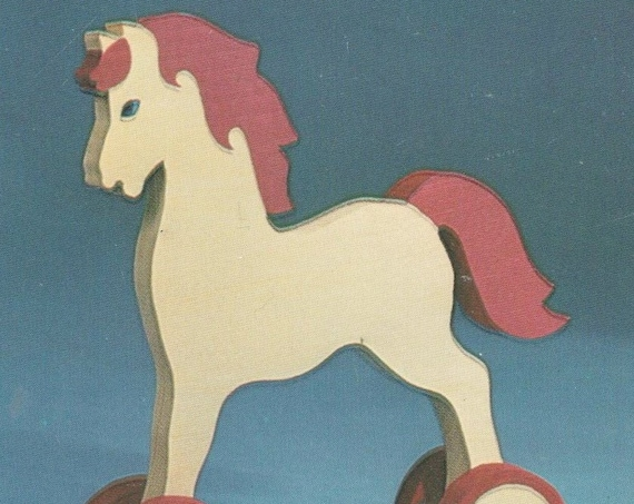 Instant PDF Digital Download Vintage Seventies Trace Full Size Woodwork Pattern  a Traditional Horse or Pony on Wheels approx 8'' High