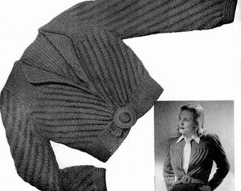 07cf04746d9f41 ALMOST FREE Instant Digital Download PDF Forties Vintage Knitting Pattern  Ladies Womens Short Fitted Cardigan Jacket Worsted Yarn Size 14-16