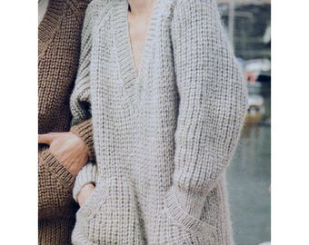 PDF Immediate Digital Download Row by Row Knitting Pattern Ladies Oversized  Chunky Long Sleeve V Neck Sweater with Pockets Bust 34-42