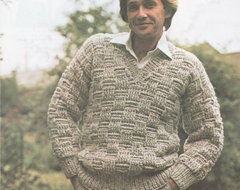 Instant PDF Digital Download Vintage Crochet Knitting Pattern to make Man s  Men s Sweater Jumper Pullover Heavy Yarn Chest 97 e57e30fa3