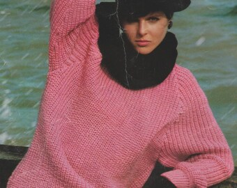 e70568755b079 Instant PDF Digital Download Vintage Row by Row Knitting Pattern Ladies  Girls Over-sized Baggy Fisherman s Rib Sweater Jumper Top 34-44