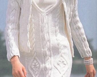 2f48f02c778 Instant PDF Digital Download Vintage Knitting Pattern a Ladies Stunning Aran  Style Richly Cabled Mini Dress Cardigan   Hat Bust 82-92 cm