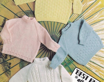 b97a0c638 ALMOST FREE Instant PDF Download Vintage Knitting Pattern to make 4 Quick  Easy Beginners Baby Round Neck Sweaters Jumpers 18-20