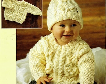 d3fbf78a1b3cd9 Instant PDF Digital Download Vintage Row by Row Knitting Pattern to make  Baby an Aran Sweater Jumper Pullover and Hat Chest 18 - 22